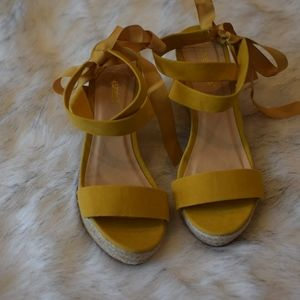 Mustard Lace Up Wedges